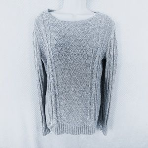 Old Navy M Gray & White Cable Knit Sweater
